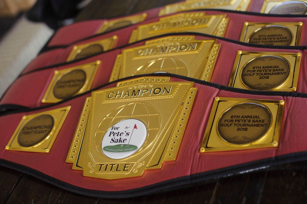 The championship belts of the 6th annual tournament